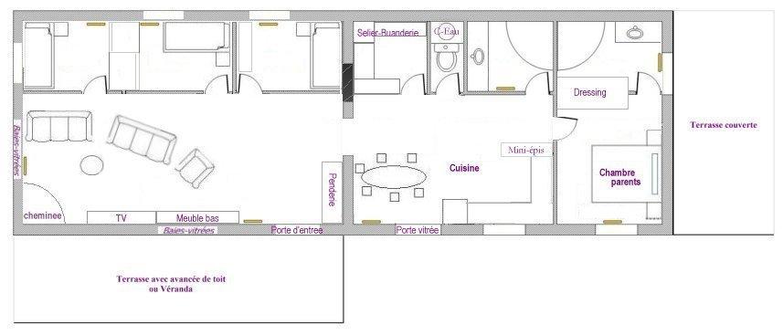 Salle de bain en longueur plan plan salle de bains en for Plan petite salle de bain en longueur